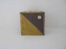 Teelichthalter gold | braun in Crackle - Optik