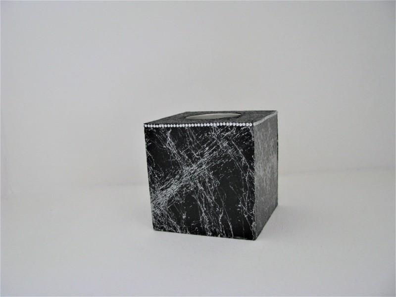 Teelichthalter | silber | schwarz | elegant verziert