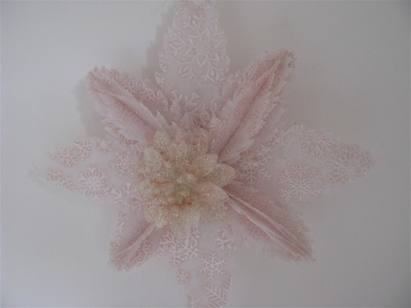 Eiskristall in rosé - lachs  mit Eisblume | Perlen