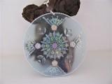 Fensterdekoration rund | türkis| Kristalle | transparent