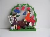 Gesteck | Holz | Elfen | Blumen | Schmetterling von Hand bemalt mehrfarbig